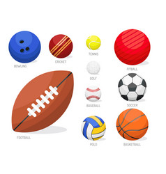 set of sport balls collection tournament win round vector image