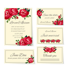 Set of wedding invitation cards with roses vector image