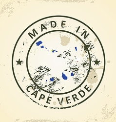 Stamp with map flag of Cape Verde vector image vector image