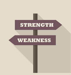 strength or weakness directions on a signpost vector image vector image