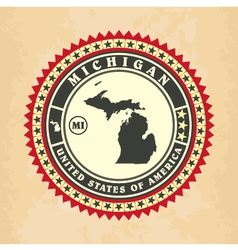 Vintage label-sticker cards of michigan vector