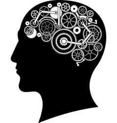 Head with gear brain vector