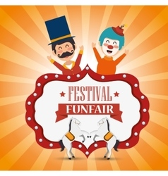Poster festival funfair clown and horses fun vector