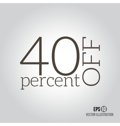 40 sale price off icon with 40 percent discount vector