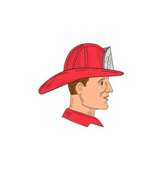 Fireman firefighter vintage helmet drawing vector