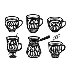 fresh coffee label set espresso mug hot drink vector image