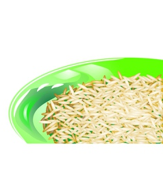Rice on green plate vector