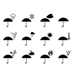 umbrella weather icons vector image