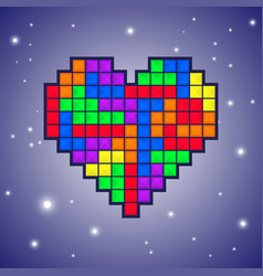 heart old video game design vector image