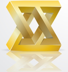 Impossible Figure Golden Icon Sign vector image