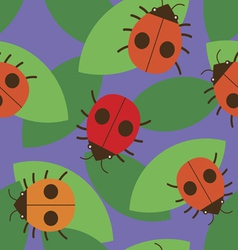 Seamless pattern with cute ladybugs vector