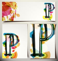 Artistic greeting card letter p vector