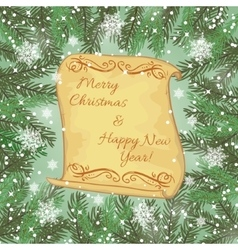 Greeting card with christmas tree and snowflakes vector