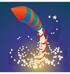 Flying firework rocket with a ribbon and stars in vector