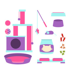 A set of accessories for a cat vector