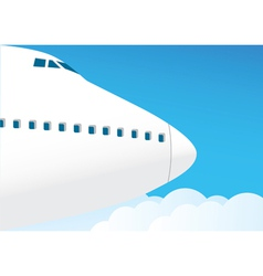 Airplane flies in the sky vector
