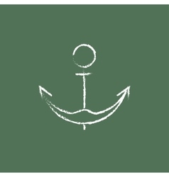 Anchor icon drawn in chalk vector image