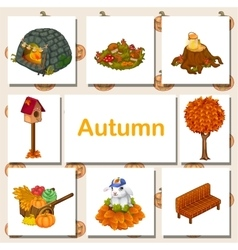 Autumn icons set different symbols vector image vector image