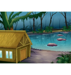Bamboo cabin in the woods vector image vector image