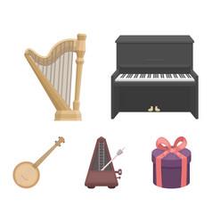 Banjo piano harp metronome musical instruments vector