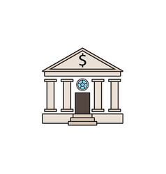 Bank building solid icon banking house vector