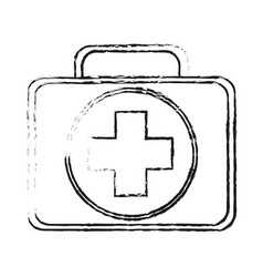 Blurred silhouette first aid kit with symbol cross vector