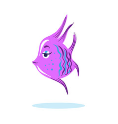 Cartoon cute serious face fish marine character vector