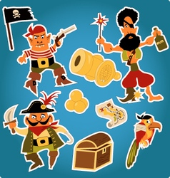 Cartoon pirates stickers vector