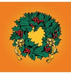 Christmas wreath of holly with red berries vector