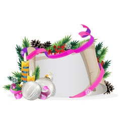 Christmas wreath with silver baubles and burning vector