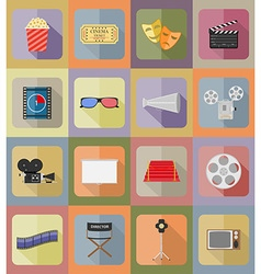 cinema flat icons 19 vector image vector image