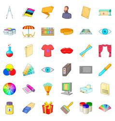 cmyk icons set cartoon style vector image vector image