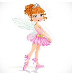 Cute little fairy girl in tiara isolated on a vector image vector image