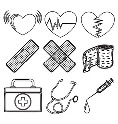 Doodle design of the different medical tools vector
