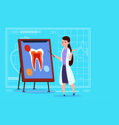Female doctor dentist looking at tooth on board vector