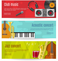 Flat Music Banner Set vector image