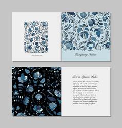 Greeting card design russian gzhel ornament vector