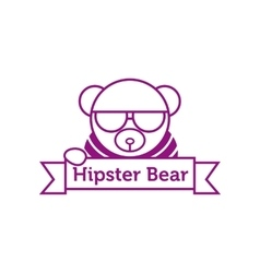 hipster bear in sunglasses outline logotype vector image vector image