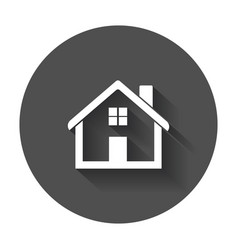 House flat icon home with long shadow vector