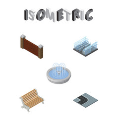 Isometric city set of turning road park vector