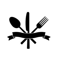 knife fork spoon and ribbon vector image vector image