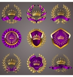 Luxury gold labels with laurel wreath vector image vector image
