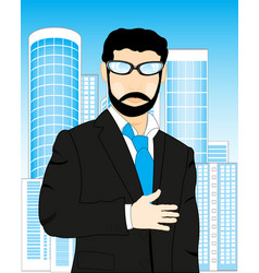 Man on background of the city vector