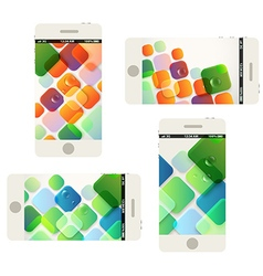 Modern phones collection with beautiful abstract vector image vector image