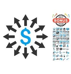 Money distribution icon with 2017 year bonus vector