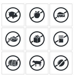 Prohibiting signs icons set vector