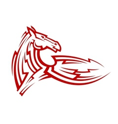 Red tribal mustang horse tattoo vector