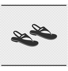 Sandals icon black color on transparent vector