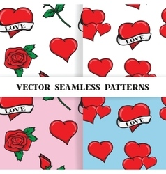 Set of seamless patterns with roses and hearts in vector image