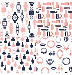 set of women accessories - jewelry watch perfume vector image vector image